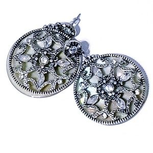 Dangle Earrings With Silver and Crystal Stones